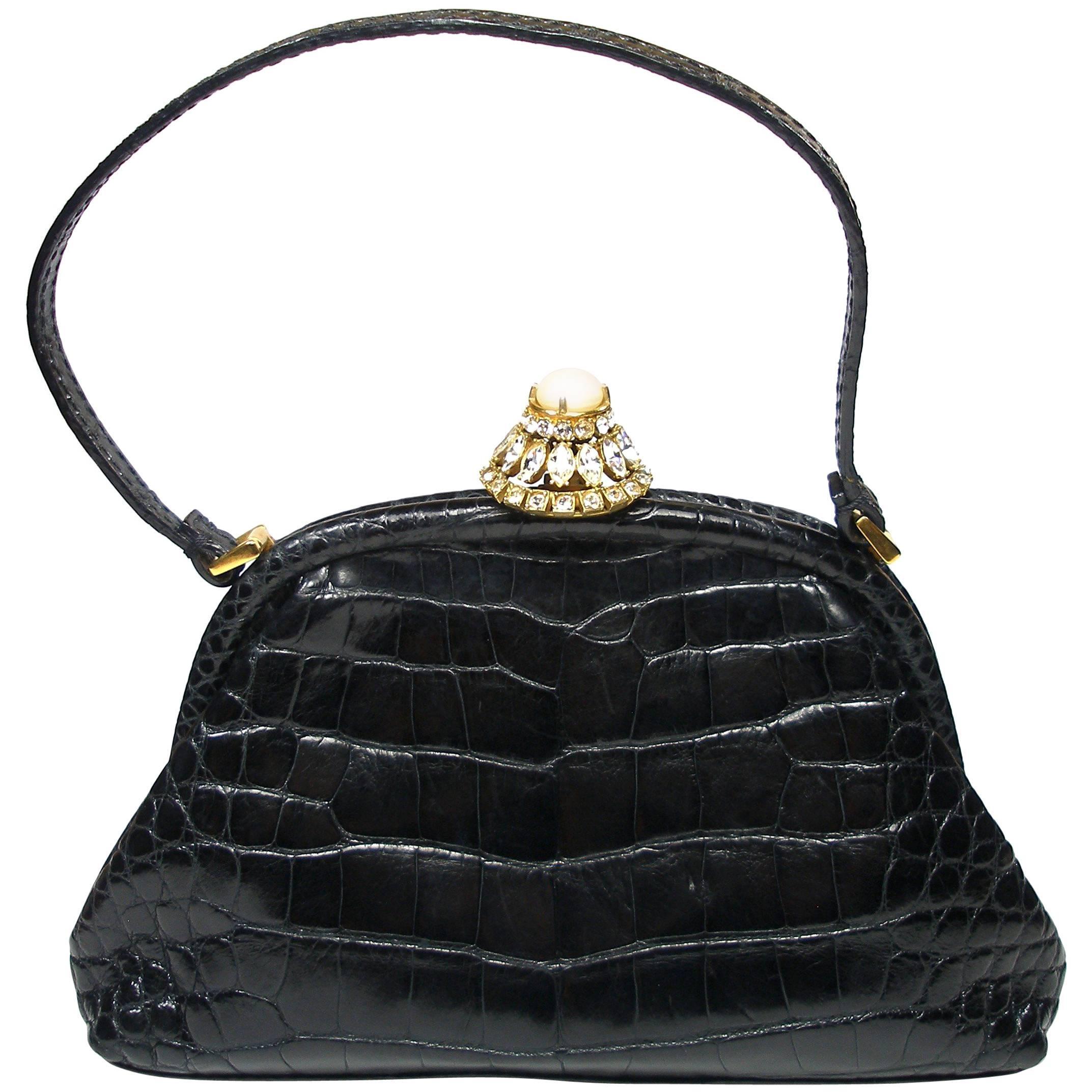 Valentino Rare Alligator And Swarovski Crystals Valentino Garavani Small Evening Handbag NGfC4