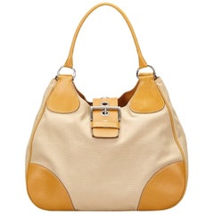 Prada Brown Canvas Shoulder Bag