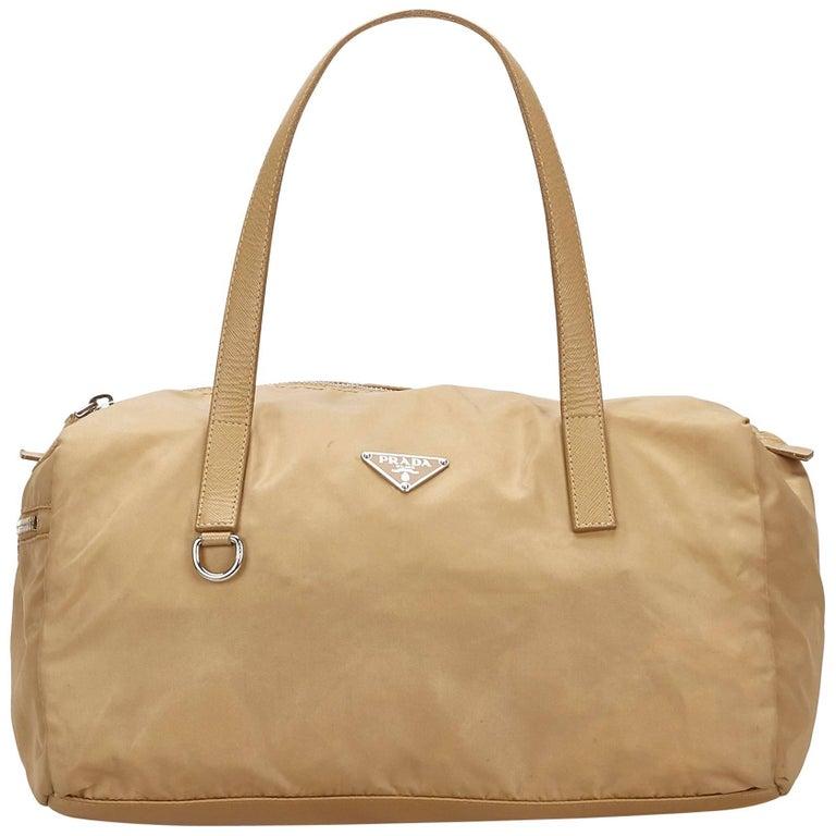 Prada Beige Nylon Shoulder Bag For