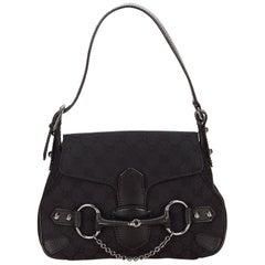 Gucci Black Horsebit Jacquard Handbag