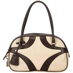 Prada White Perforated Leather Handbag