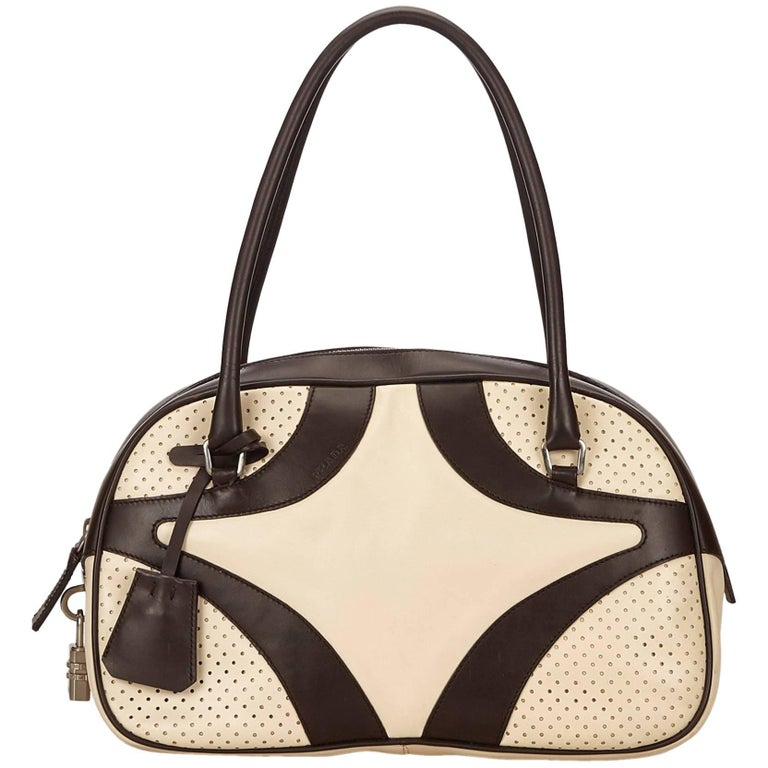 905347f8e862 Prada White Perforated Leather Handbag For Sale at 1stdibs