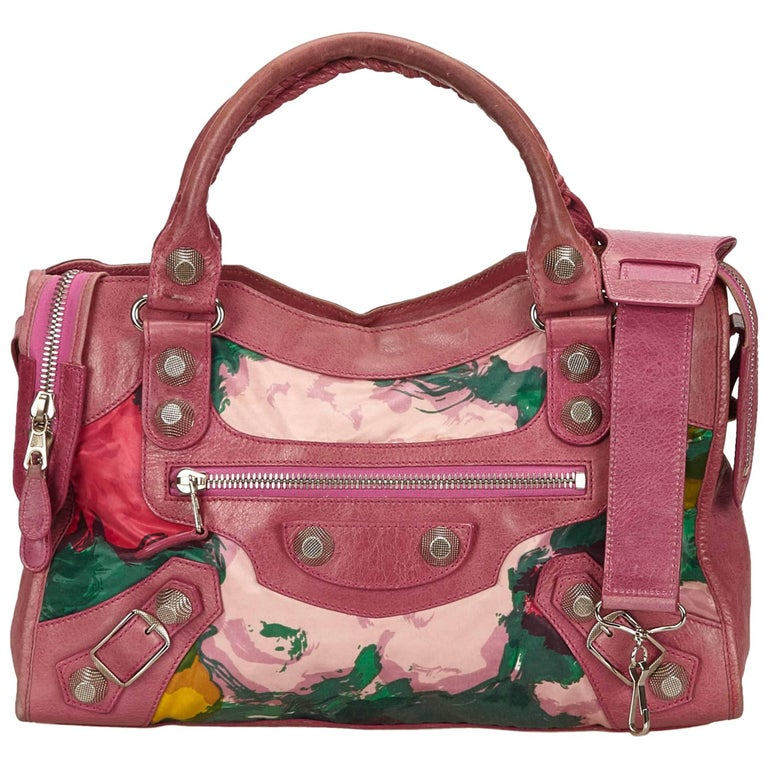 Balenciaga Purple Motocross Giant City Floral Bag For Sale