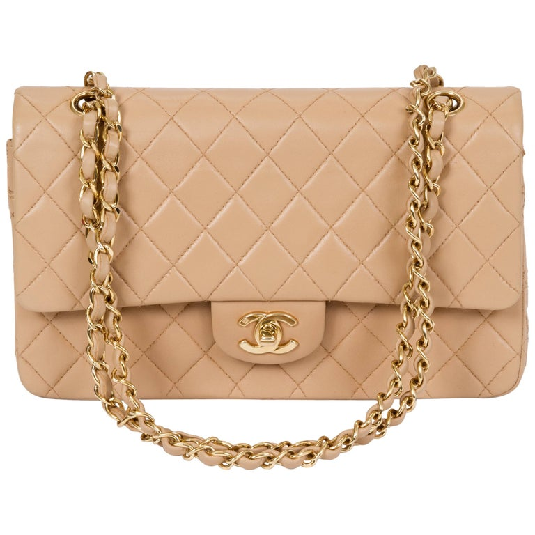 471a7c8f6f0f Chanel Beige Lambskin Double Flap Bag For Sale at 1stdibs