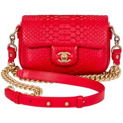 New Chanel Red & Gold Python Cross Body