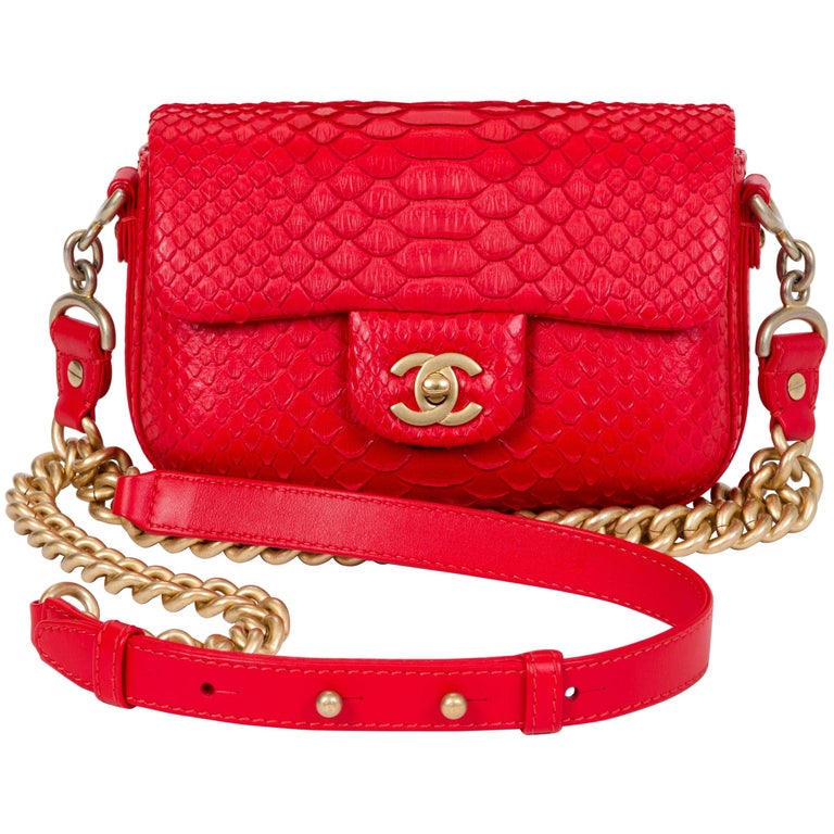 d0d80e1b9997 New Chanel Red and Gold Python Cross Body at 1stdibs