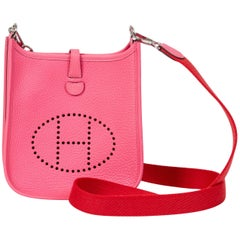 New Hermes Mini Evelyne Rose Azalee/Pivoine Bag