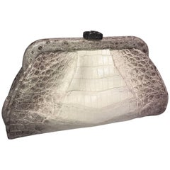 Ana Crocodile White Himalaya clutch with diamond closure and 9 inch frame