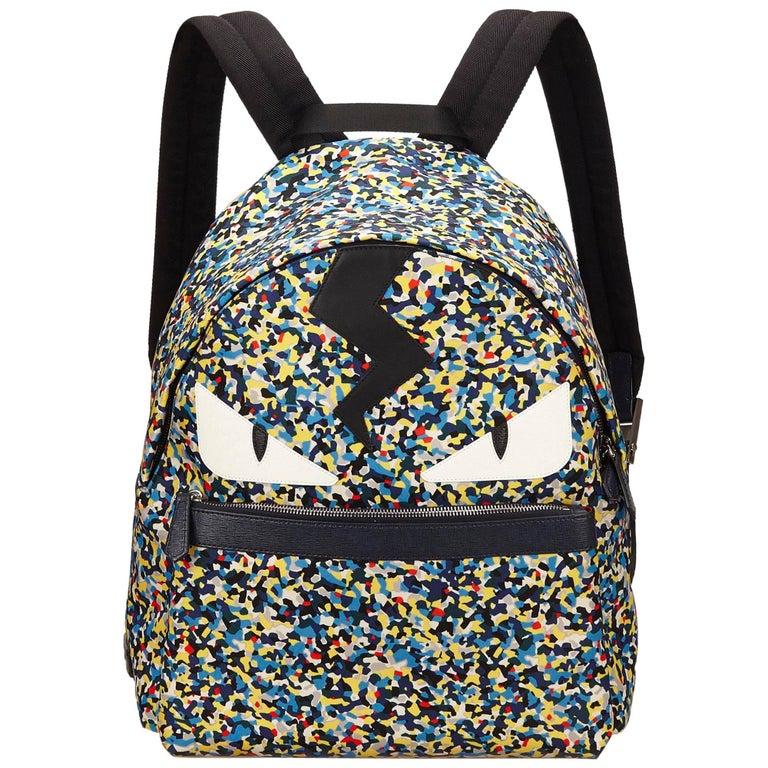abc0d6c6dfe2 HomeFashionHandbags and PursesBackpacks. Fendi Blue Monster Nylon Backpack  For Sale