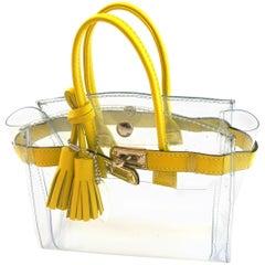 ORIGINAL Mon Autre Sac ® Mini Tote Bag Diamant Pvc and Yellow leather