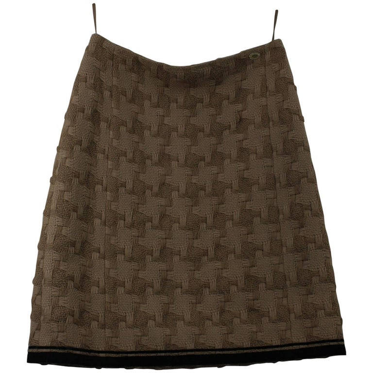 Chanel Brown Wool Skirt 1