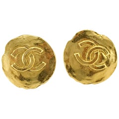 1970's Chanel Gold-Plated Logo Coin Earrings