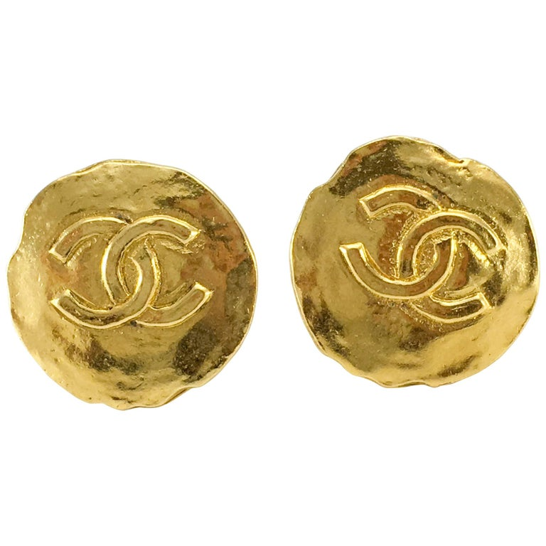 1970 S Chanel Gold Plated Logo Coin Earrings For
