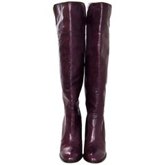 Chloe Plum Leather Knee High Boots Sz 40