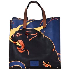 Valentino Navy Leather & Canvas Panther Print Tote Bag