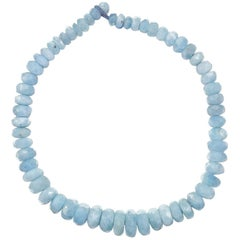 Graduated Rondels of Aquamarine Choker Necklace