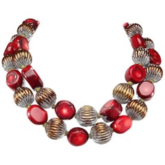 Double Strand Deep Red Coral and Bronze Bead Choker Necklace