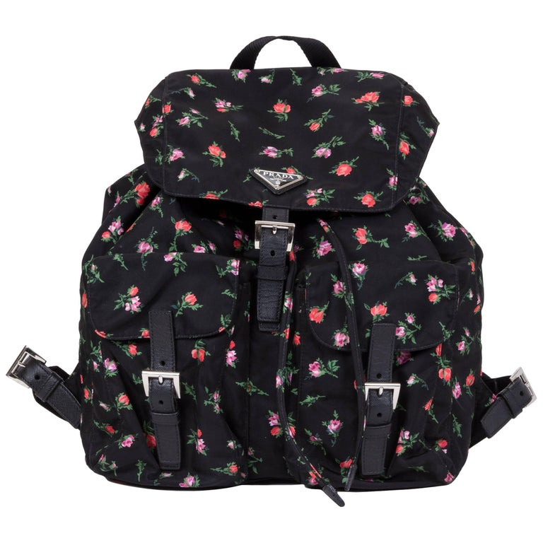 Prada Black Nylon Rosetted Backpack