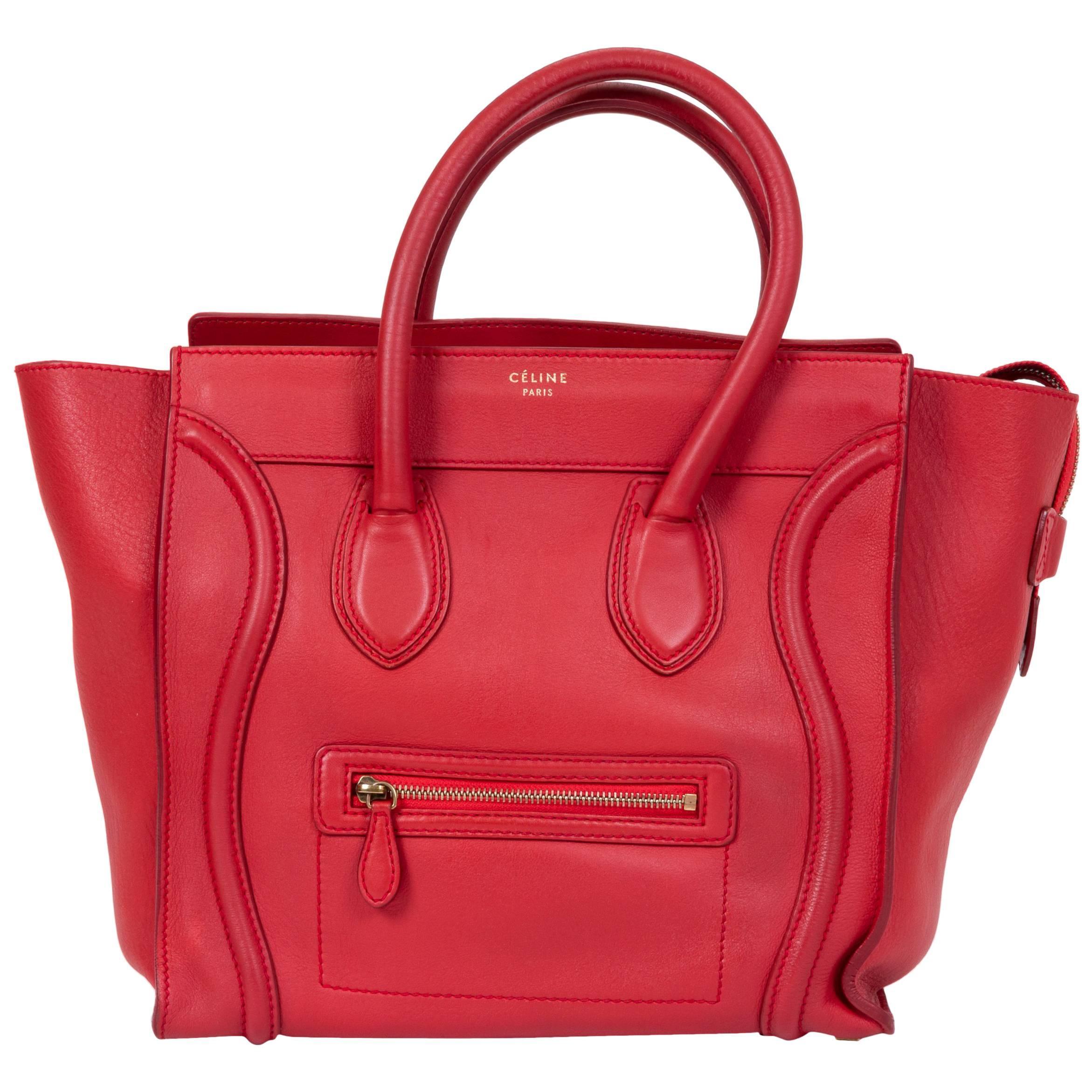Celine Red Leather Mini Luggage Bag