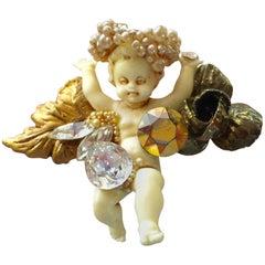 1980s WENDY GELL Angel Pearl Encrusted Putti Brooch Pin