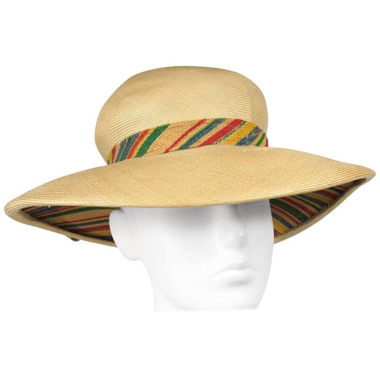 Vintage 1960s Givenchy Straw Wide Brim Hat Bonwitt Teller