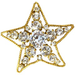 Chanel 1982 Vintage Crystal Star Brooch Pin