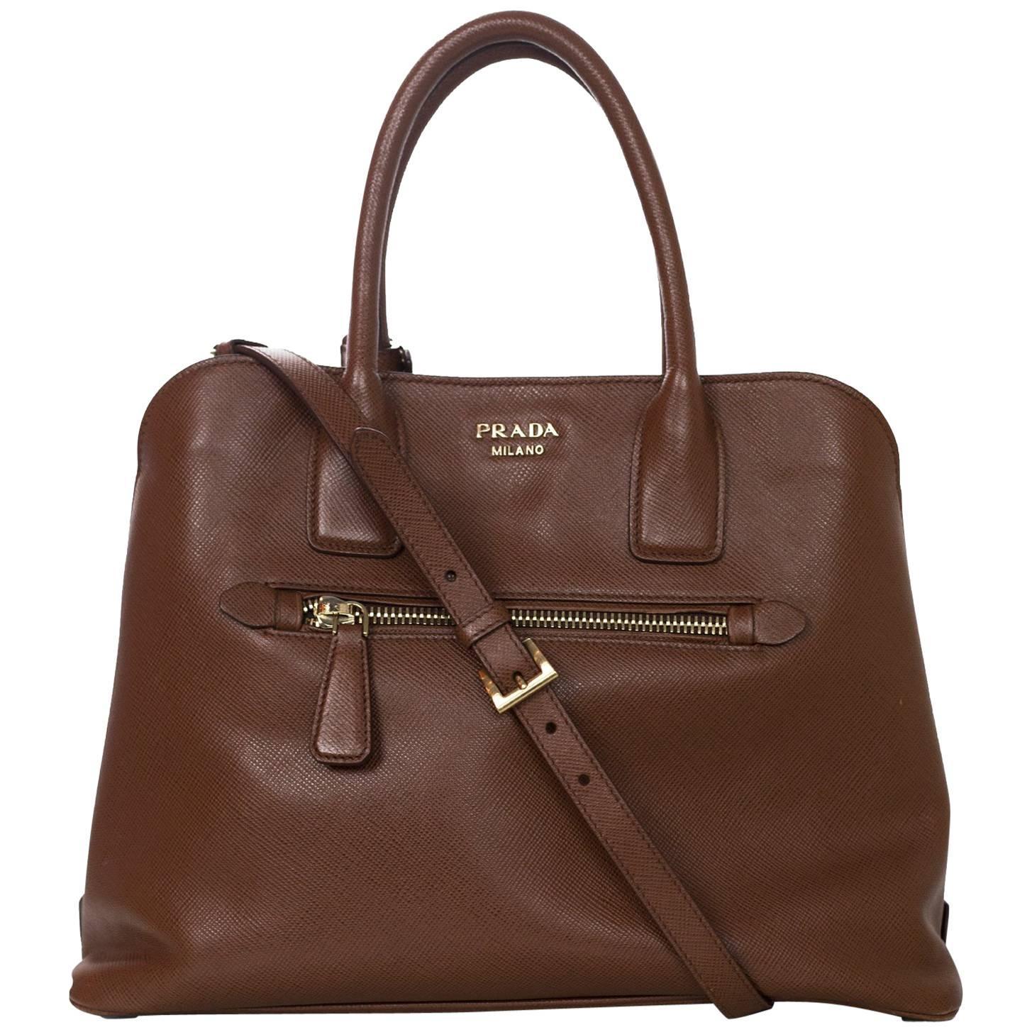 Prada Brown Saffiano Leather Palissandro Tote Bag w/ Strap