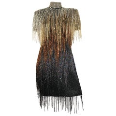 Naeem Khan Riazee Flapper Fringed Beaded Sequin Evening Cocktail Dress Size 6.