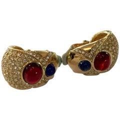 CINER Goldtone Faux Sapphire and Ruby  Diamante Clip on Earrngs