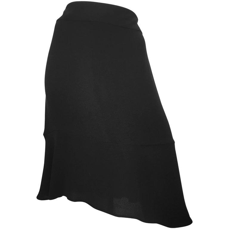 Chanel Black Silk Skirt Size 12 / 44.