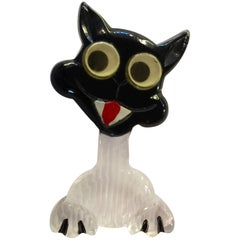 1940s Acrylic LUCITE Googly Eyed Cat Pin Brooch