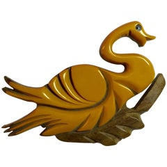 1930s Cream Bakelite and Wood Laminated and Carved Swan Pin Brooch