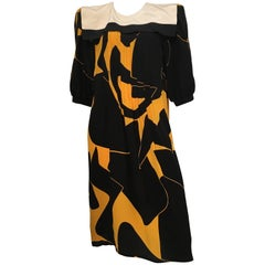 Flora Kung Silk Abstract Pattern Dress with Sailor Collar Size 10.