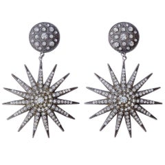 Pierre Bex Art Deco style Silver Plated Rhinestone Starburst Statement Earrings