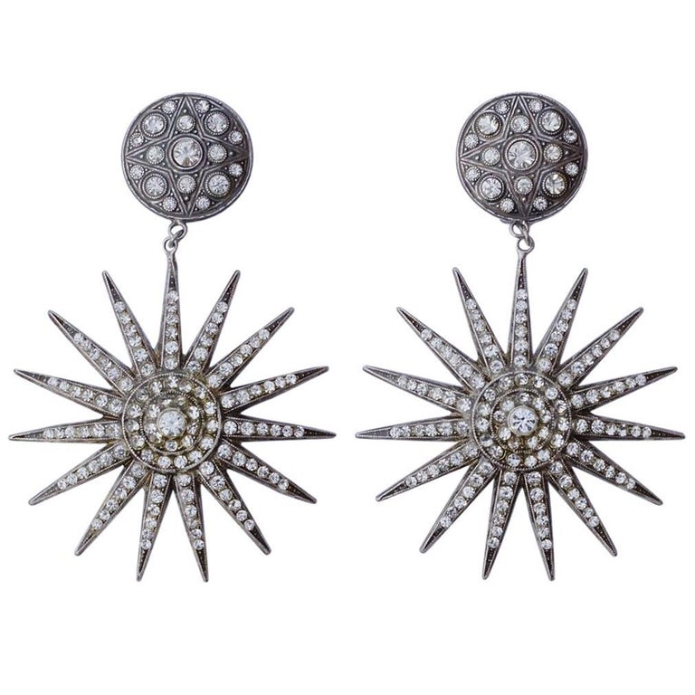 7ad6b1f7c Pierre Bex Art Deco style Silver Plated Rhinestone Starburst Statement  Earrings For Sale