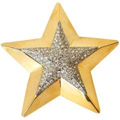 1980s Gold Star Rhinestone Brooch