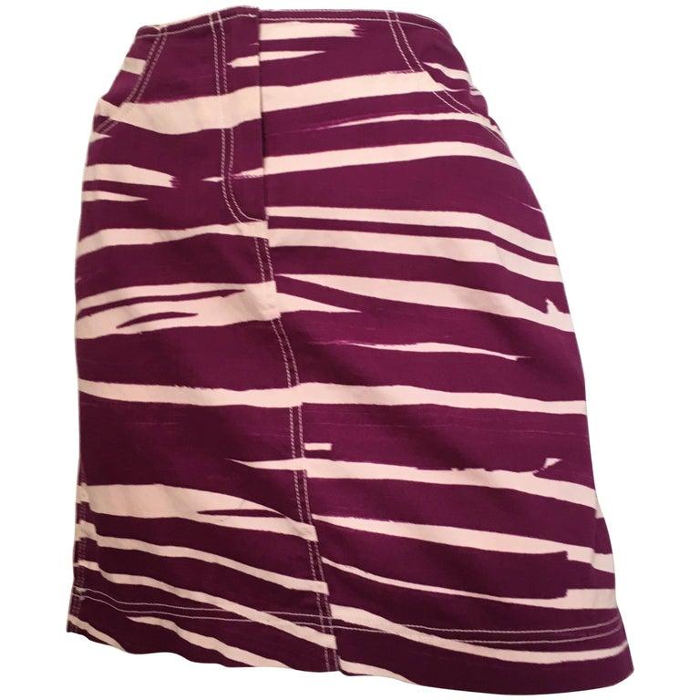 Oscar de la Renta Cotton Stretch Zebra Mini Skirt with Pockets Size 8.