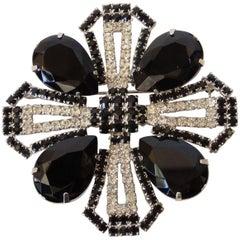 Vintage Black Crystal Rhinestone Brooch