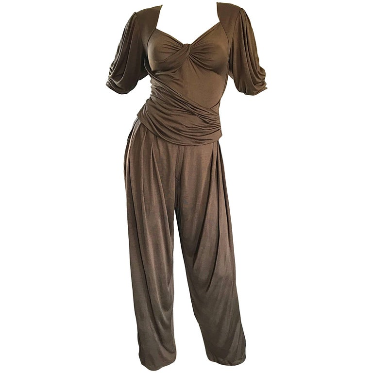 Vintage Emanuel Ungaro Silk Jersey Taupe Two Piece Harem Pants Ensemble Pant Set