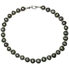 Silver and Grey Freshwater Pearl Necklace