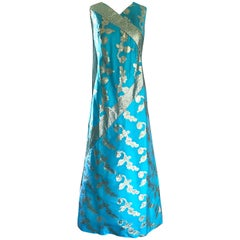1960s Waltah Clarke's Turquoise Blue and Gold Vintage 60s Silk Maxi Dress