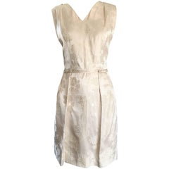 1950s R & K Originals Ivory Off - White Silk Jacquard Sleeveless Cocktail Dress