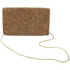 C.1980 Disco Glam Christian Dior Logo Copper Beaded Evening Handbag