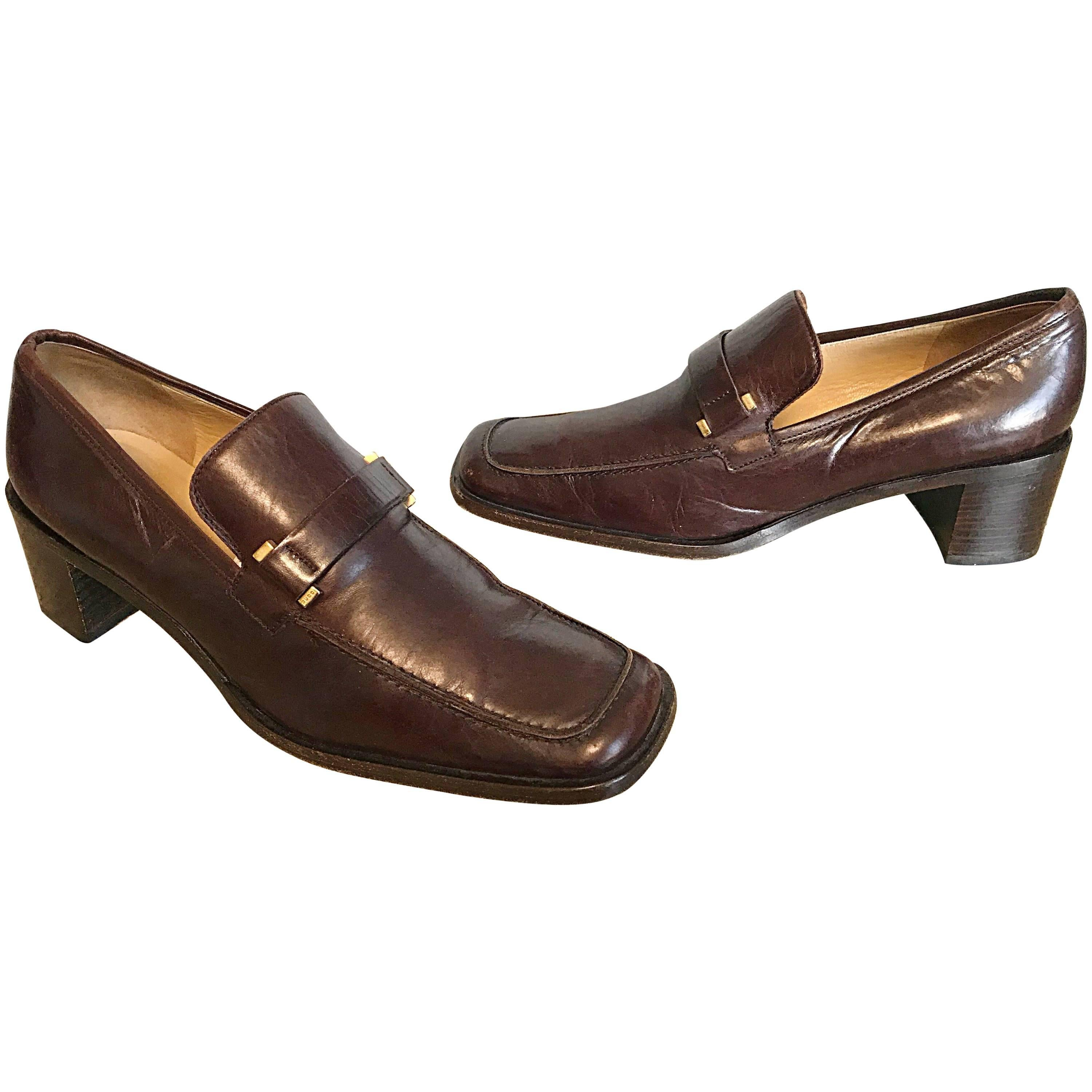 Gucci by Tom Ford Size 6 / 36 1990s Chocolate Brown Stacked Heel Loafers Shoes