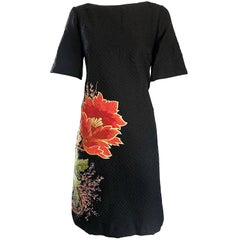 Vintage Etro 1990s Black Silk Side Floral Print Short Sleeve 90s Shift Dress