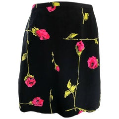 1990s Betsey Johnson Rose Print Hot Pink + Green + Black Vintage 90s Mini Skirt