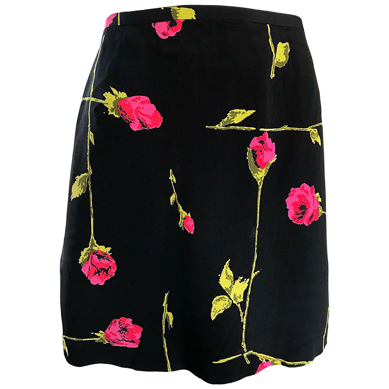 1990s Betsey Johnson Rose Print Hot Pink + Green + Black Vintage 90s Mini Skirt