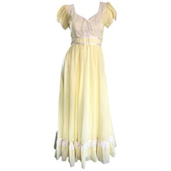 1970s Pale Yellow White Cotton Voile Pearl Encrusted Vintage 70s Boho Maxi Dress