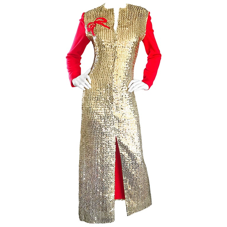 1960s Oscar de la Renta Gold and Red Ribbon Silk Sequin Vintage 60s Gown Dress