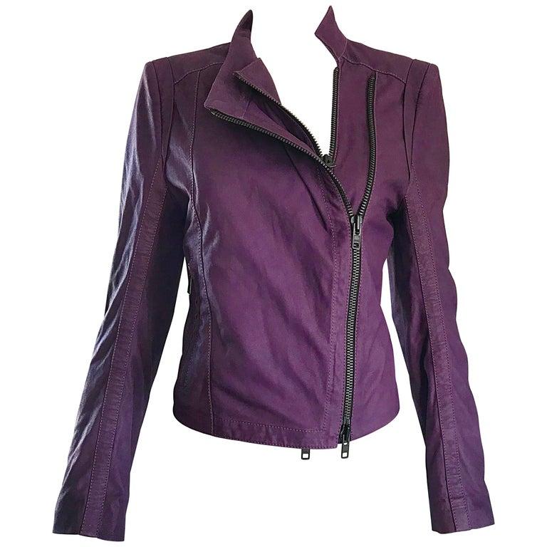 Ann Demeulemeester 1990s Purple Eggplant Leather 90s Fitted Vintage Moto Jacket